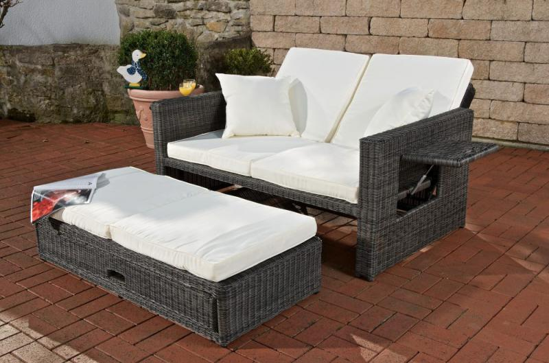 sofa ancona 5mm polyrattan grau meliert garnitur neu gartensofa rundes rattan ebay. Black Bedroom Furniture Sets. Home Design Ideas