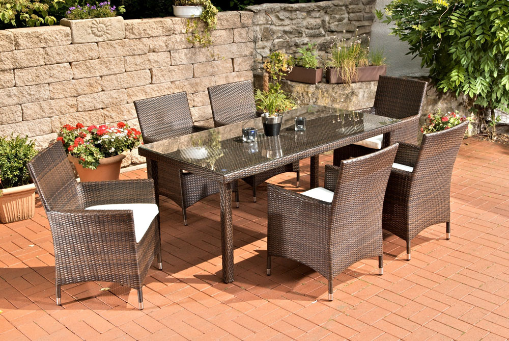 poly rattan sitzgruppe florenz 6 garten st hle garten tisch 180 x 90 cm ebay. Black Bedroom Furniture Sets. Home Design Ideas