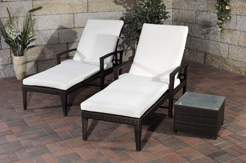 set sonnenliege costa tisch sonnenliegen gartenliege liegestuhl lounger liege ebay. Black Bedroom Furniture Sets. Home Design Ideas