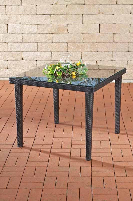 glastisch bari aus polyrattan alu neu gartenm bel rattan esstisch kaffeetisch ebay. Black Bedroom Furniture Sets. Home Design Ideas