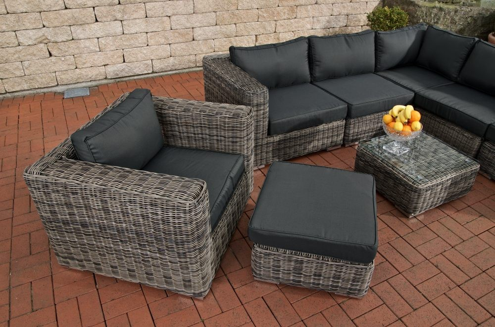garten lounge set ariano anthrazit grau meliert polyrattan. Black Bedroom Furniture Sets. Home Design Ideas