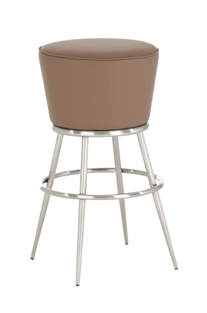 Round Modern Bar Stool LAOS Pub Leather Seat Cool Vintage Retro Look Steel NE
