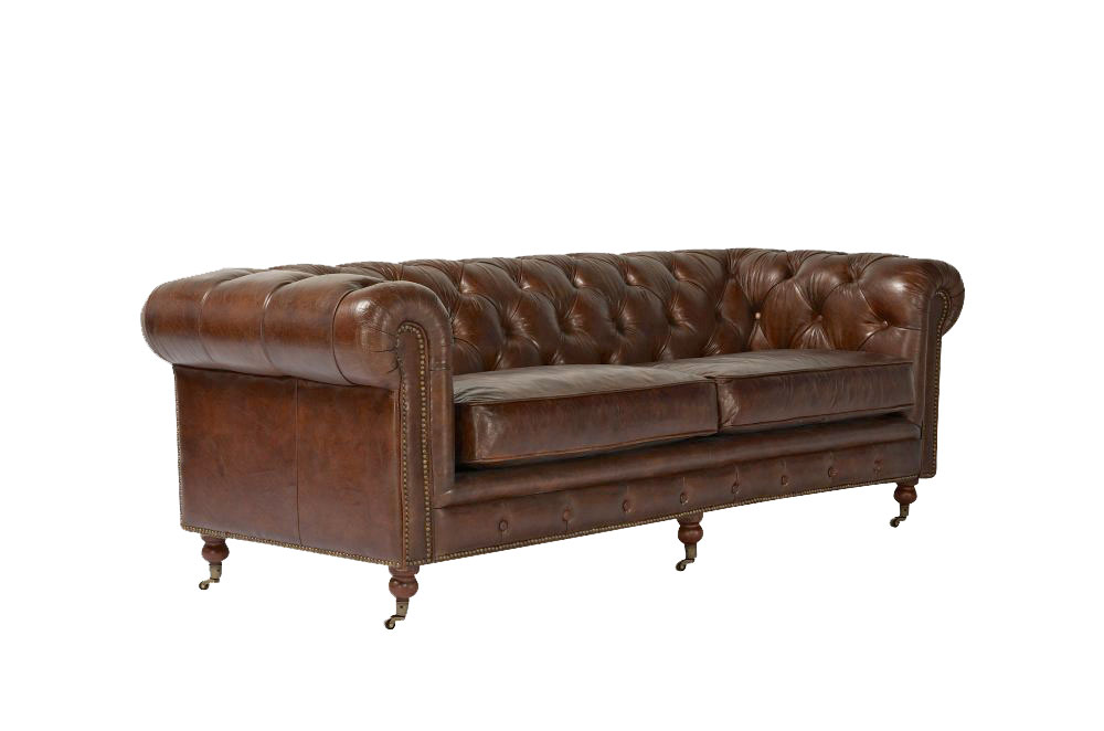 3er sofa kenhelm echtleder chesterfield braun couch ledersofa vintage antik ebay. Black Bedroom Furniture Sets. Home Design Ideas