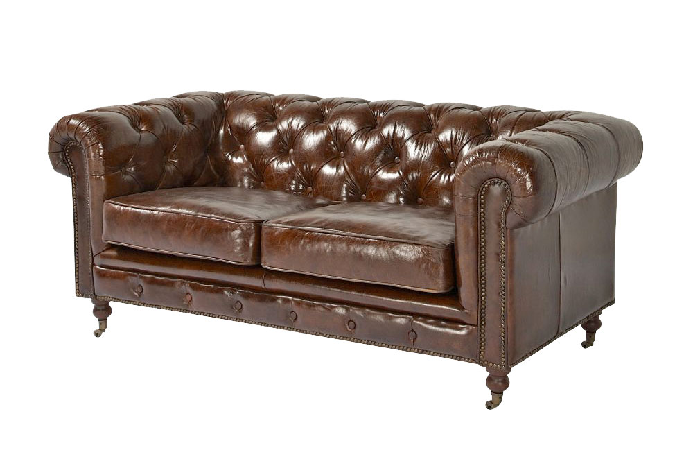 2er sofa kenhelm echtleder chesterfield braun couch. Black Bedroom Furniture Sets. Home Design Ideas