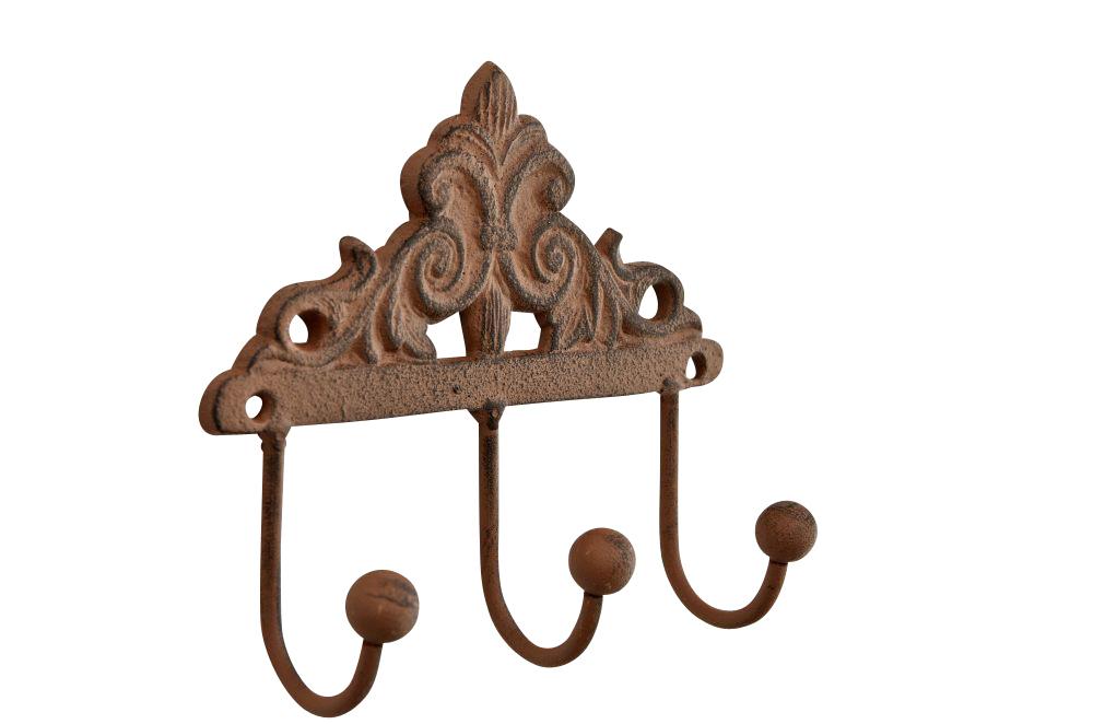 Coat Rack Melinda Hat 3 Hooks Iron Metal Wall Mounted