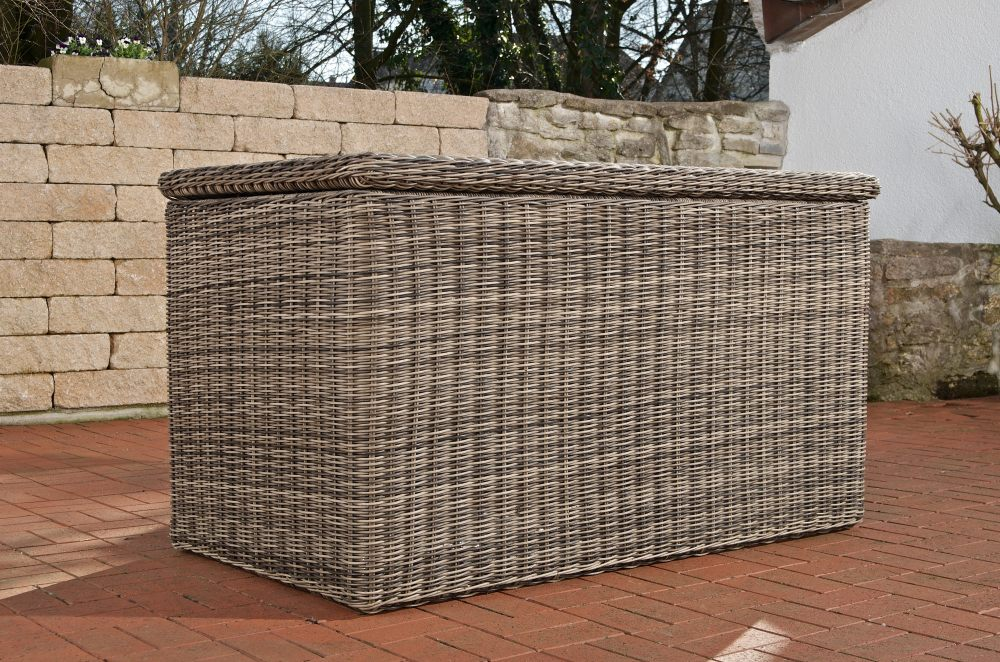 luxus auflagenbox xl polyrattan grau meliert kissenbox neu gartentruhe gartenbox ebay. Black Bedroom Furniture Sets. Home Design Ideas