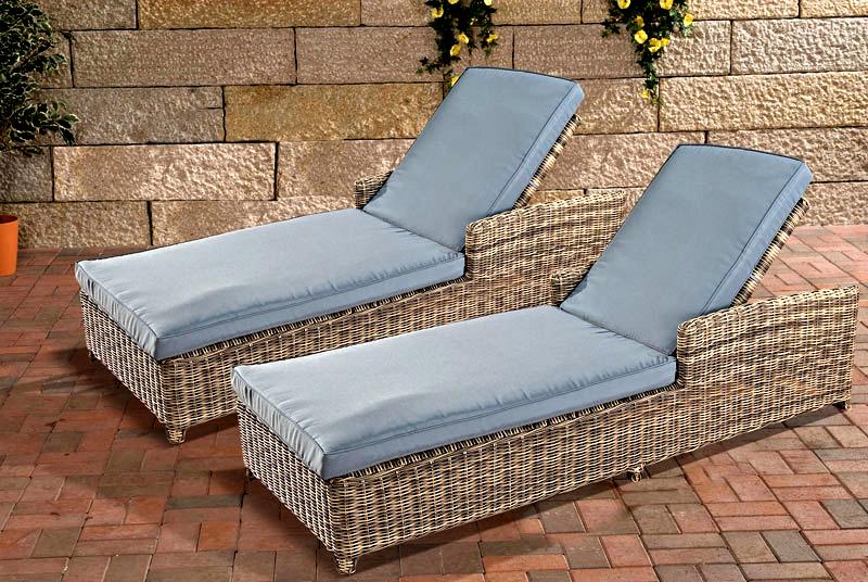 set sonnenliegen massa grau meliert liege polyrattan neu. Black Bedroom Furniture Sets. Home Design Ideas