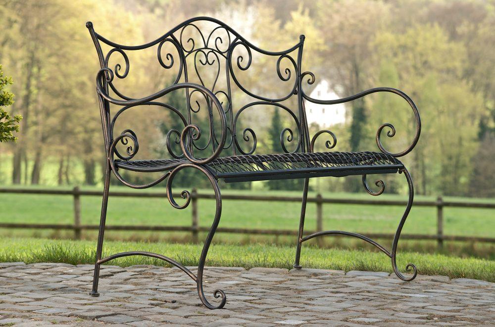 gartenbank tara sitzbank eisenbank gartenm bel neu landhaus metall bank vintage ebay. Black Bedroom Furniture Sets. Home Design Ideas