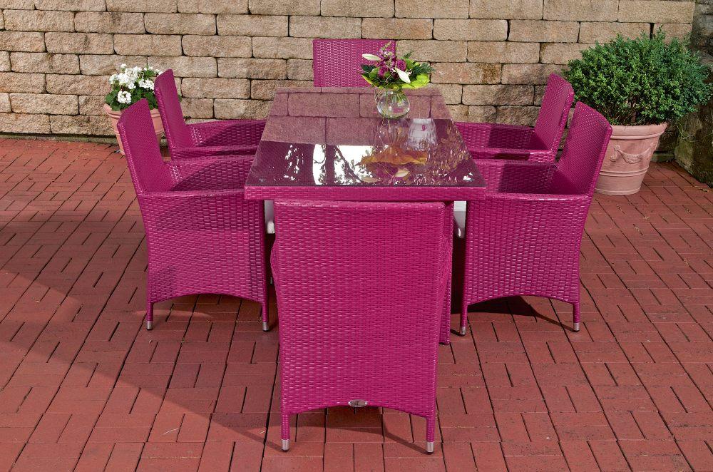 Gartenmobel Gastro Gunstig :  Glastisch AVIGNON mit 6 Stühlen Pink Essgruppe Gartenmöbel Esstisch