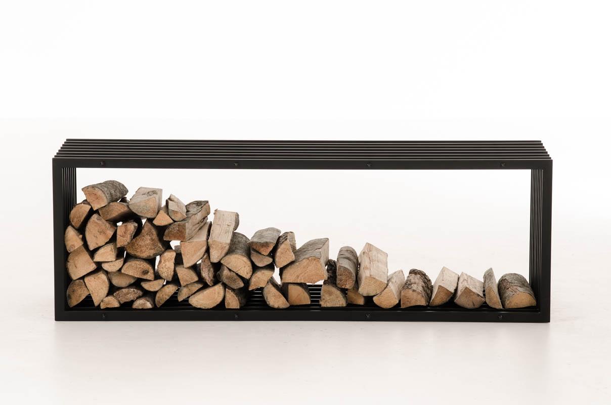 Firewood Rack IRVING Black Metal Log Basket Stand Holder ...