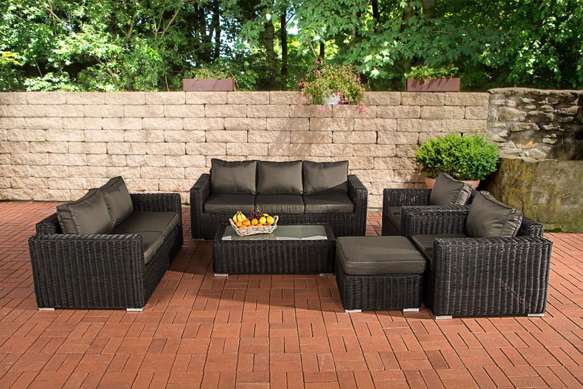 garten garnitur cp066 sitzgruppe lounge garnitur poly rattan kissen anthrazit schwarz. Black Bedroom Furniture Sets. Home Design Ideas