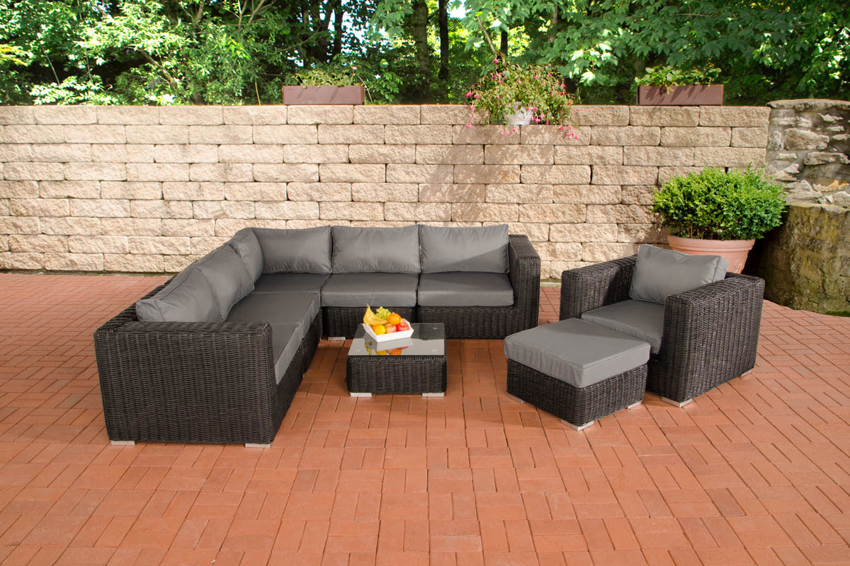 Poly Rattan Gartenmbel Lounge Set Ariano Schwarz Garten Gartenmobel  Polyrattan Schwarz Amazonde Polyrattan Rattan With Rattan Schwarz