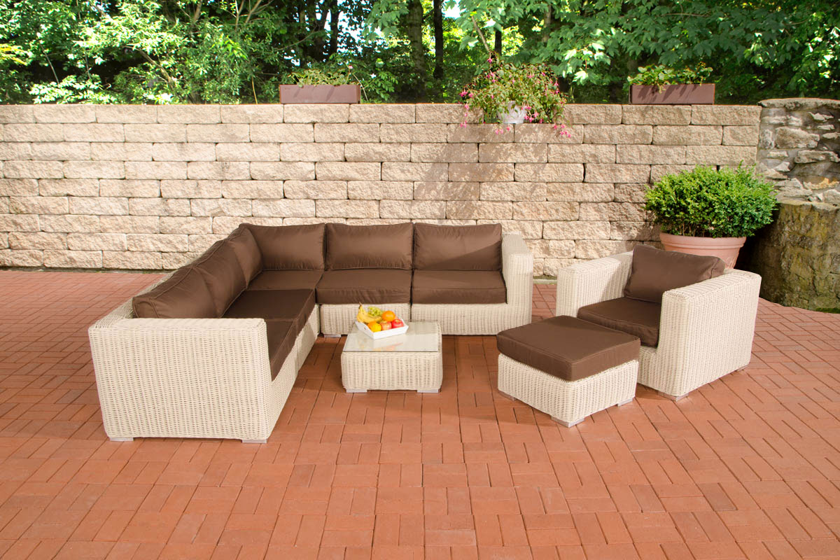 poly rattan gartenm bel lounge set ariano perlwei garten loungem bel 5 farben ebay. Black Bedroom Furniture Sets. Home Design Ideas