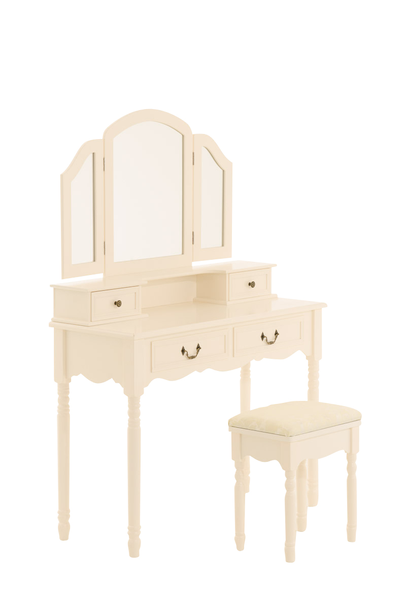 Large dressing table filina stool 3 mirrors toilette for Wide dressing table