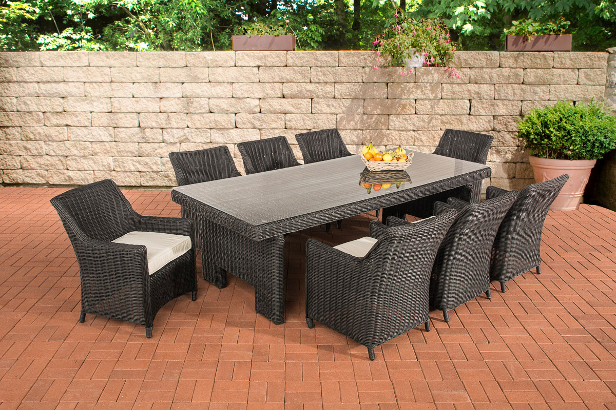 sitzgruppe sandnes xl schwarz gartengarnitur polyrattan gartenm bel neu terrasse ebay. Black Bedroom Furniture Sets. Home Design Ideas