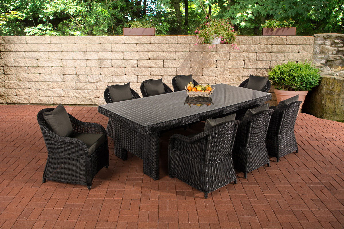 sitzgruppe candela xl schwarz gartengarnitur polyrattan gartenm bel farbwahl neu ebay. Black Bedroom Furniture Sets. Home Design Ideas