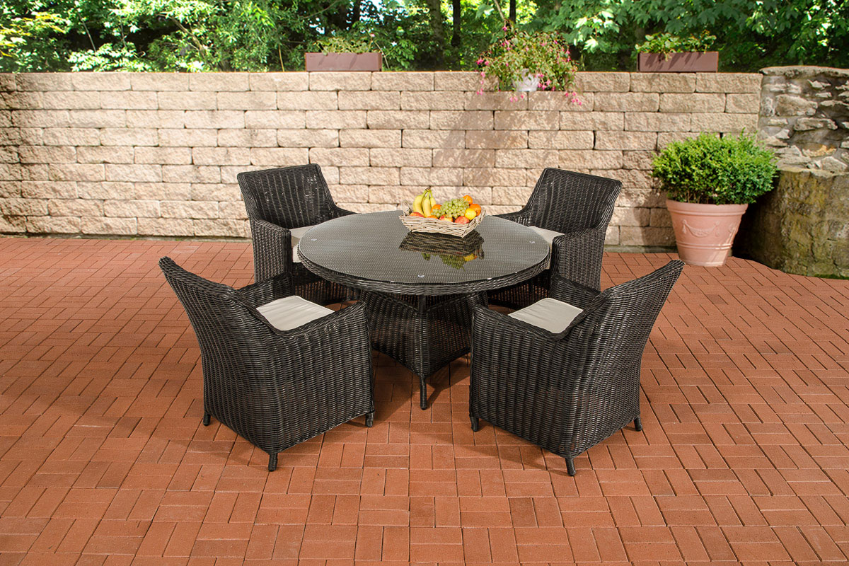 sitzgruppe bovino schwarz garten m bel terasse essgarnitur tisch sessel rattan ebay. Black Bedroom Furniture Sets. Home Design Ideas