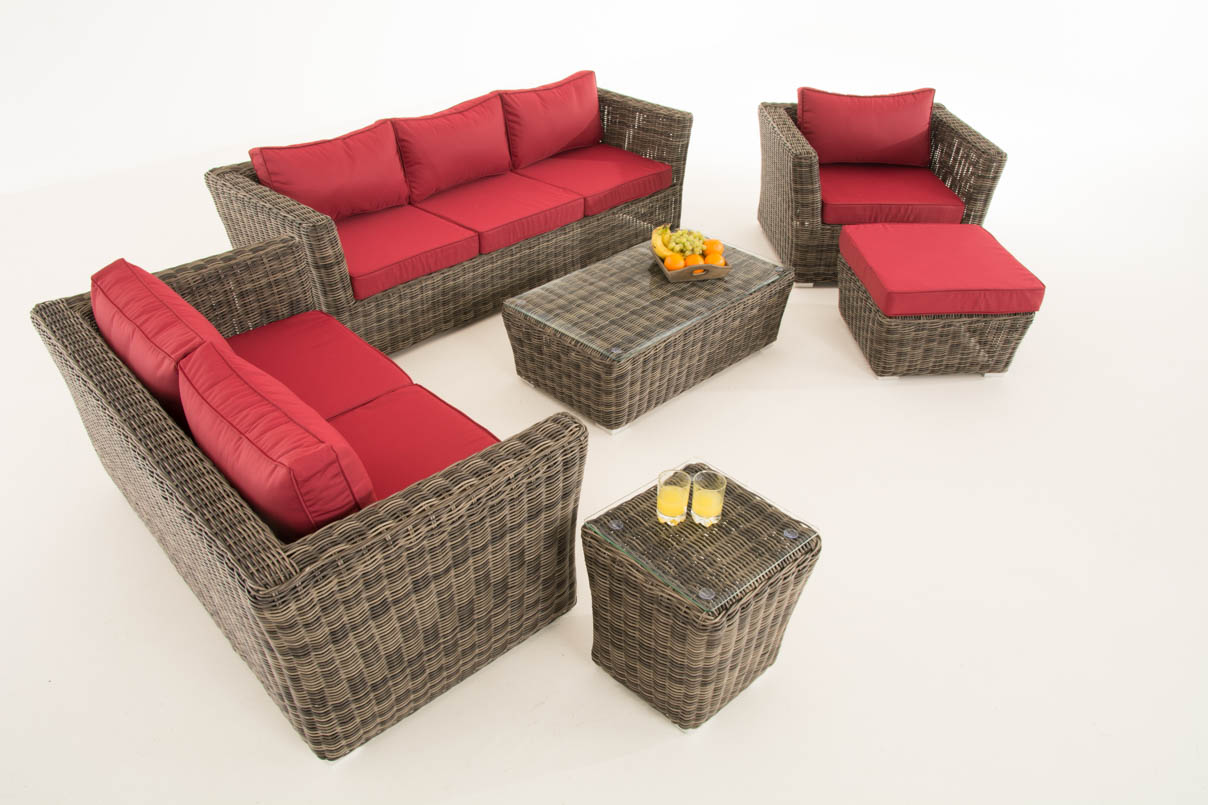 poly rattan gartengarnitur edmonton sofa garnitur lounge set grau meliert polsterung rubinrot. Black Bedroom Furniture Sets. Home Design Ideas