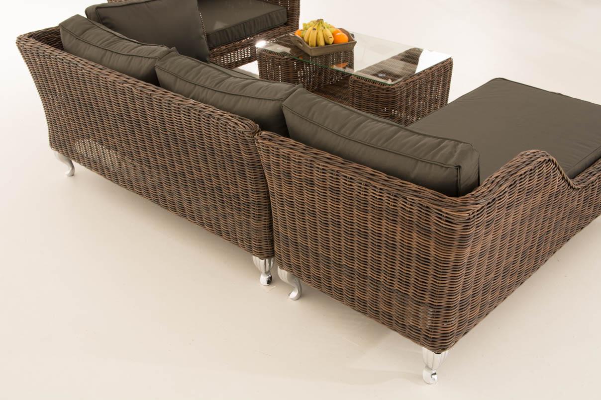 polyrattan gartengarnitur moss braun meliert loungem bel gartenm bel sitzgruppe ebay. Black Bedroom Furniture Sets. Home Design Ideas