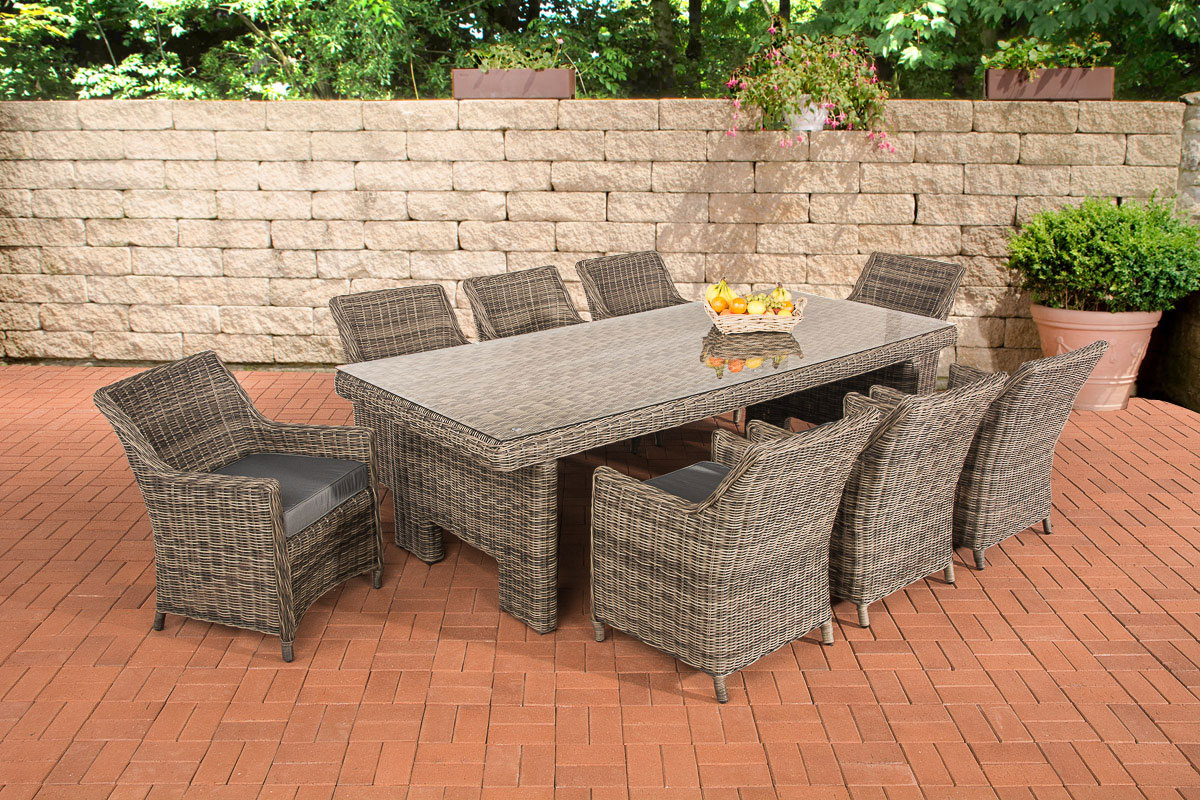 sitzgruppe sandnes xl grau meliert gartengarnitur polyrattan gartenm bel set neu ebay. Black Bedroom Furniture Sets. Home Design Ideas