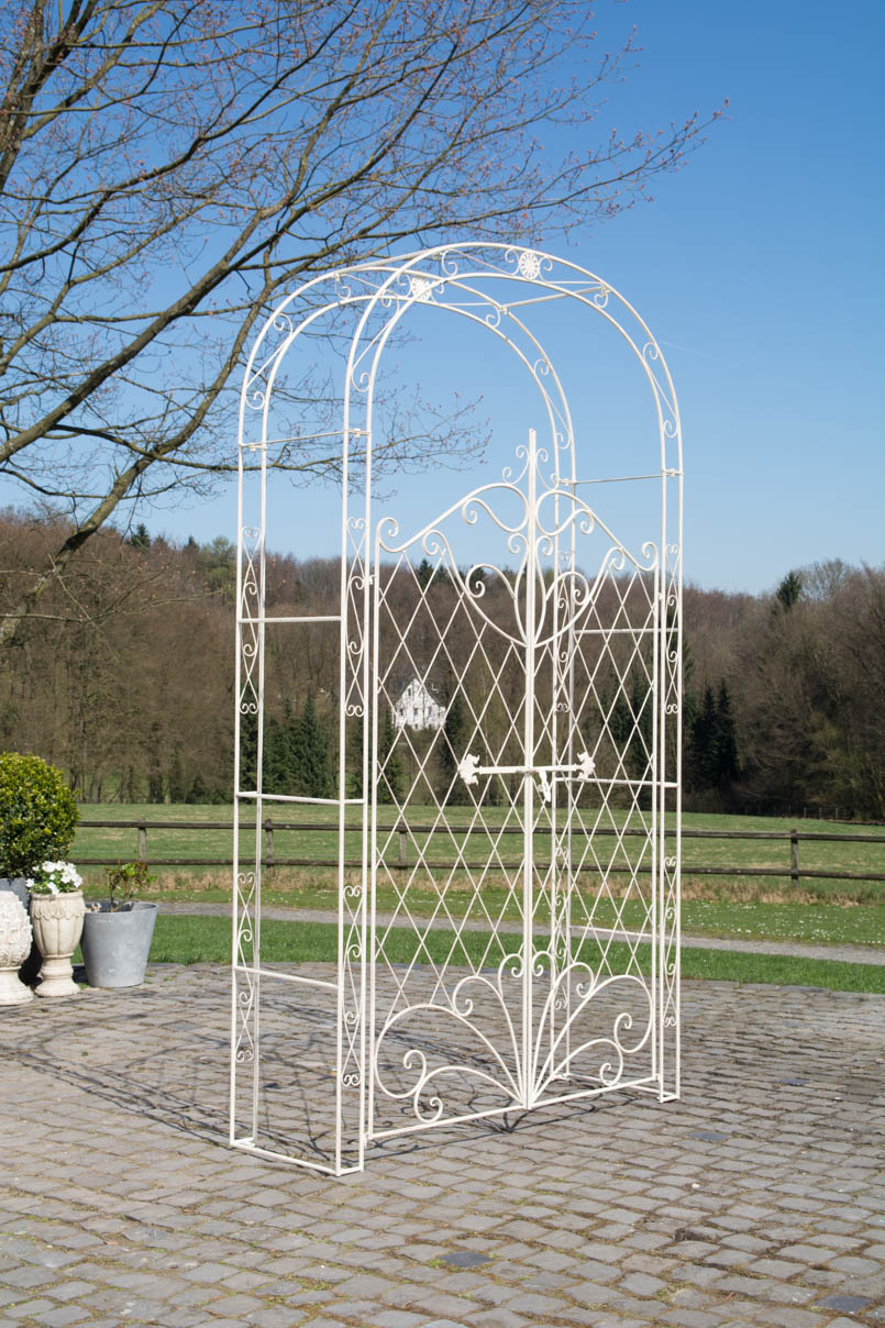 rosenbogen mit tor melissa metall gartentor rankhilfe spalier pergola rankgitter ebay. Black Bedroom Furniture Sets. Home Design Ideas