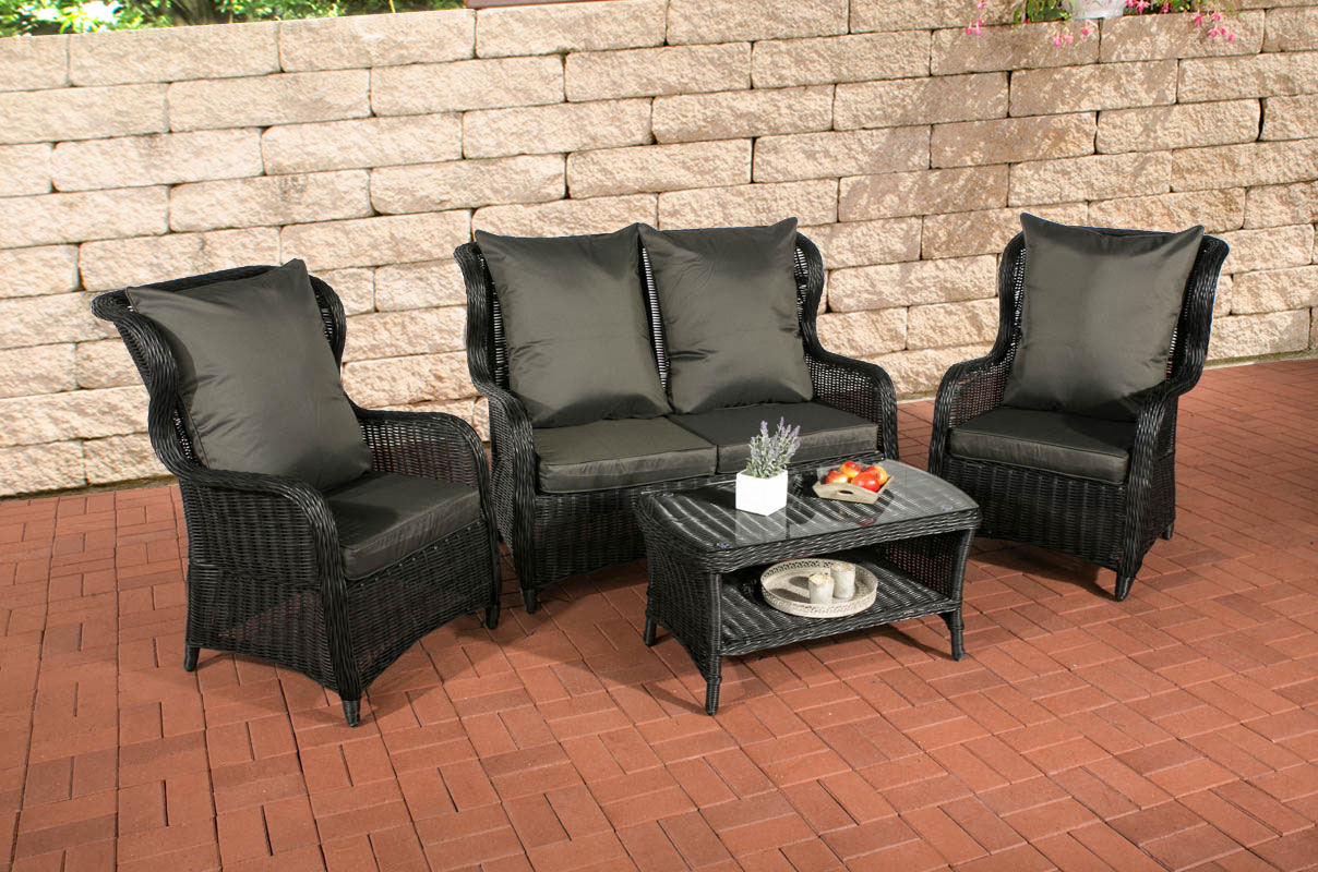 sitzgruppe toledo schwarz polyrattan lounge garnitur. Black Bedroom Furniture Sets. Home Design Ideas