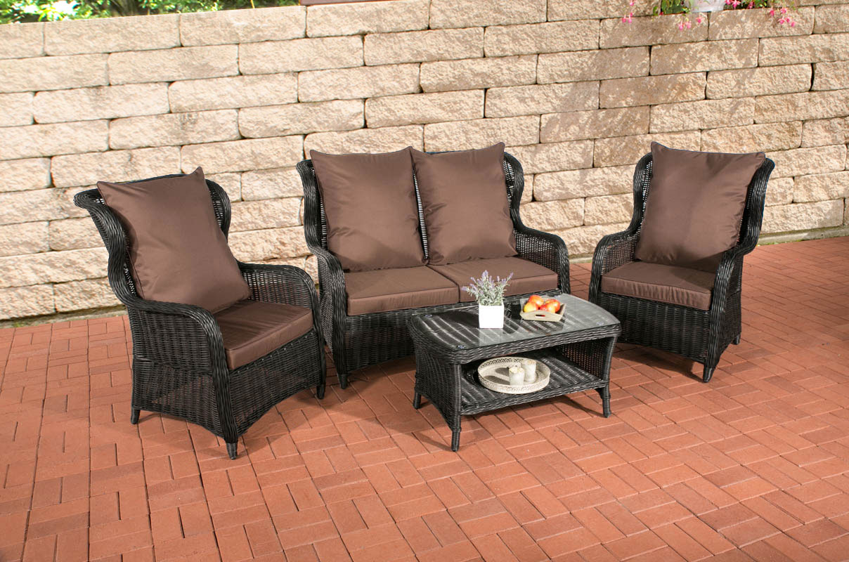 sitzgruppe toledo schwarz polyrattan lounge garnitur gartenm bel set rattanm bel ebay. Black Bedroom Furniture Sets. Home Design Ideas