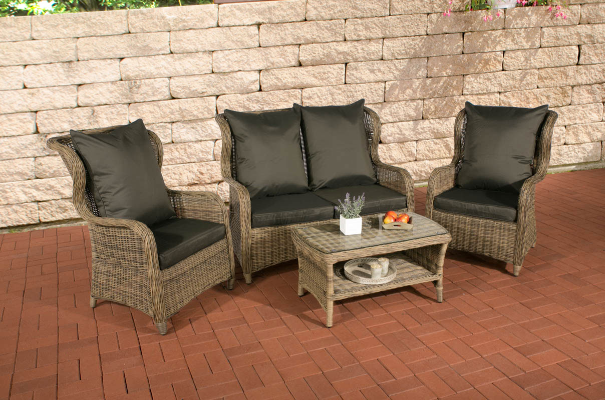 poly rattan garten sitzgruppe toledo rund rattan natura bezug w hlen 4 personen ebay. Black Bedroom Furniture Sets. Home Design Ideas