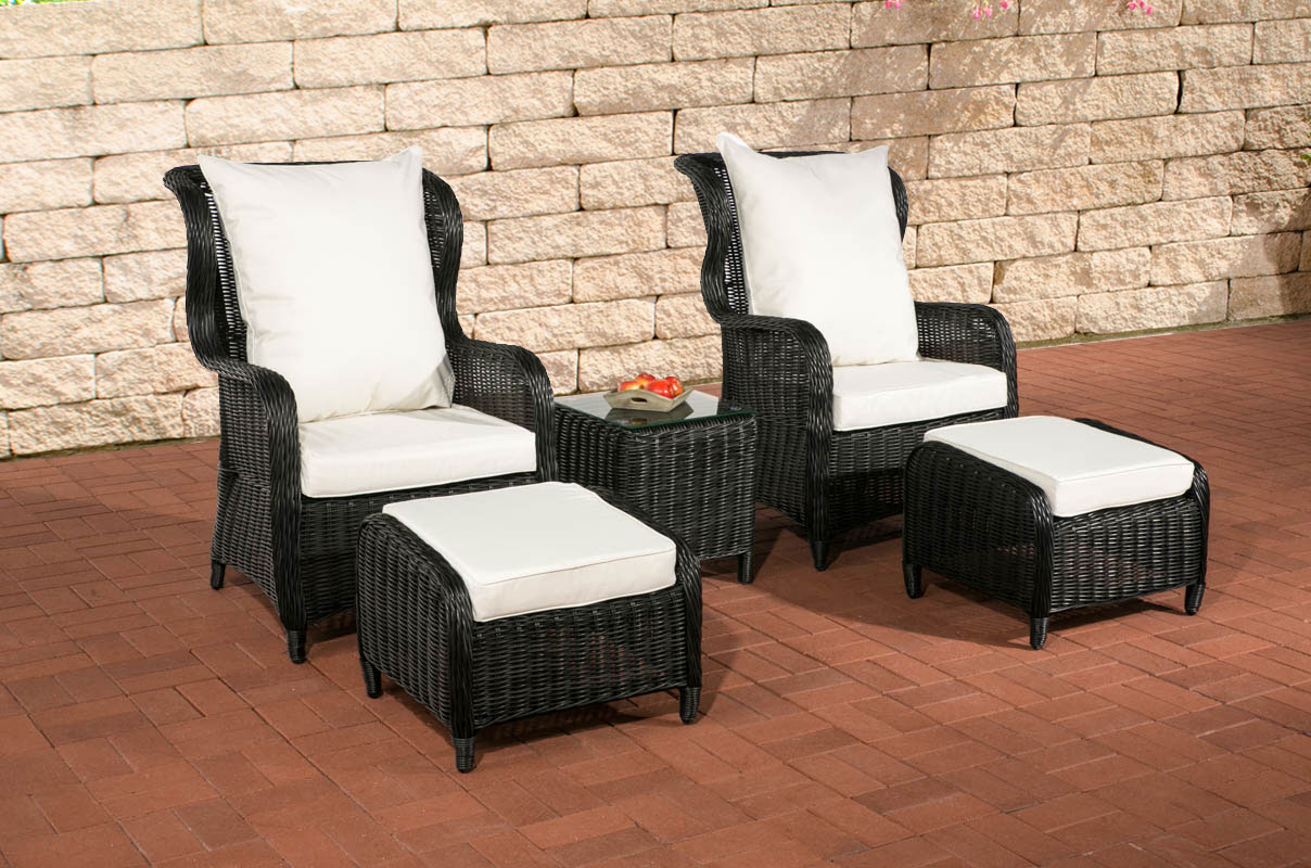 poly rattan garten sitzgruppe treviso schwarz 5mm rund sessel gartenm bel neu ebay. Black Bedroom Furniture Sets. Home Design Ideas