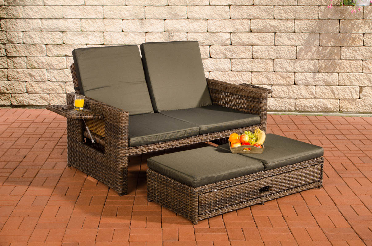 polyrattan sofa ancona 5mm braun meliert sonnenliege gartensofa liege liegestuhl ebay. Black Bedroom Furniture Sets. Home Design Ideas