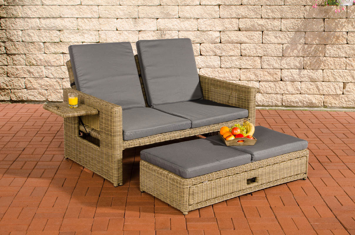 poly rattan lounge sofa ancona 5mm rund rattan natura sonnenliege gartensofa ebay. Black Bedroom Furniture Sets. Home Design Ideas