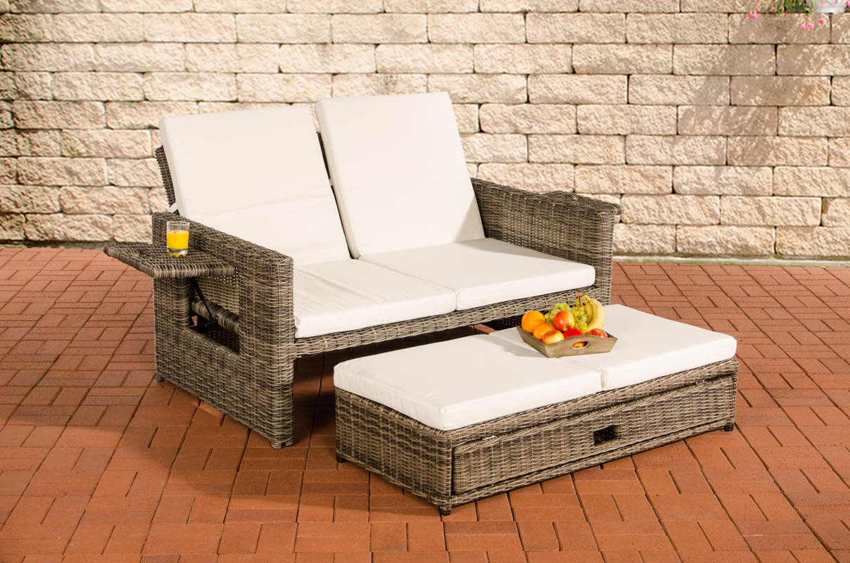 polyrattan sofa ancona 5mm grau meliert sonnenliege gartensofa liege liegestuhl ebay. Black Bedroom Furniture Sets. Home Design Ideas