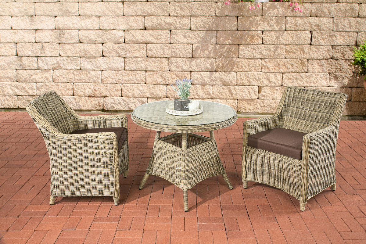 sitzgruppe ambato natura polyrattan garten balkon set gartenm bel gartengarnitur ebay. Black Bedroom Furniture Sets. Home Design Ideas