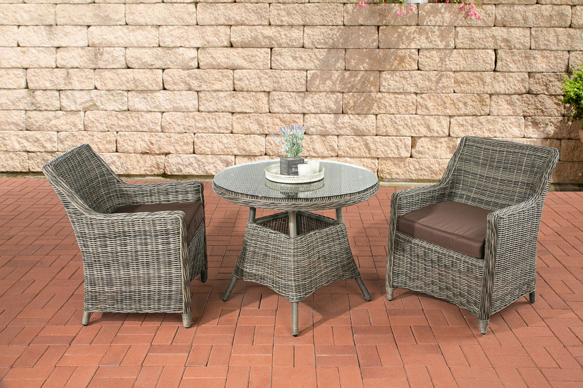 polyrattan sitzgruppe ambato grau meliert gartenm bel balkon gartenset garnitur ebay. Black Bedroom Furniture Sets. Home Design Ideas
