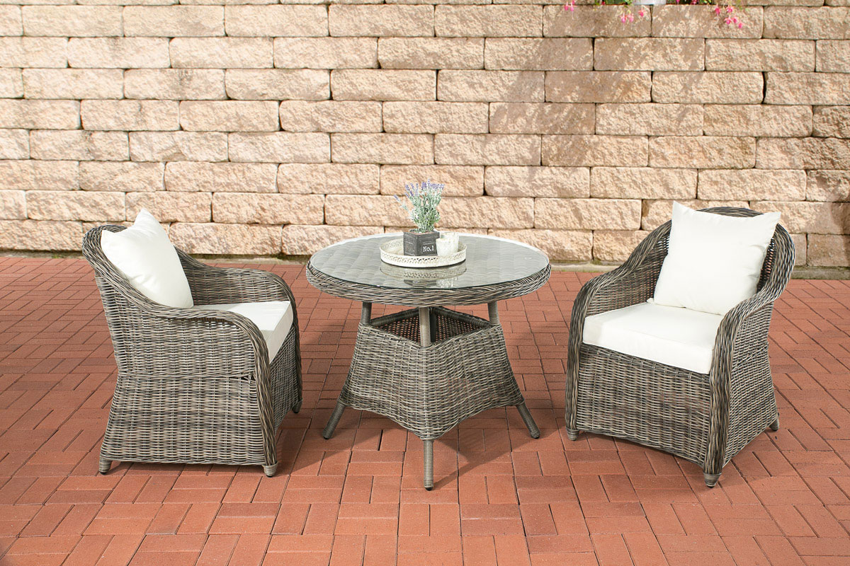 sitzgruppe balao grau meliert polyrattan gartenm bel lounge gartenset essgruppe ebay. Black Bedroom Furniture Sets. Home Design Ideas
