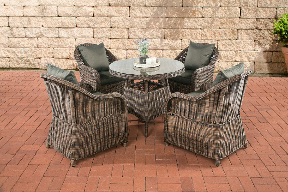 poly rattan sitzgruppe farsund braun meliert rund bistro kaffee garten m bel set ebay. Black Bedroom Furniture Sets. Home Design Ideas