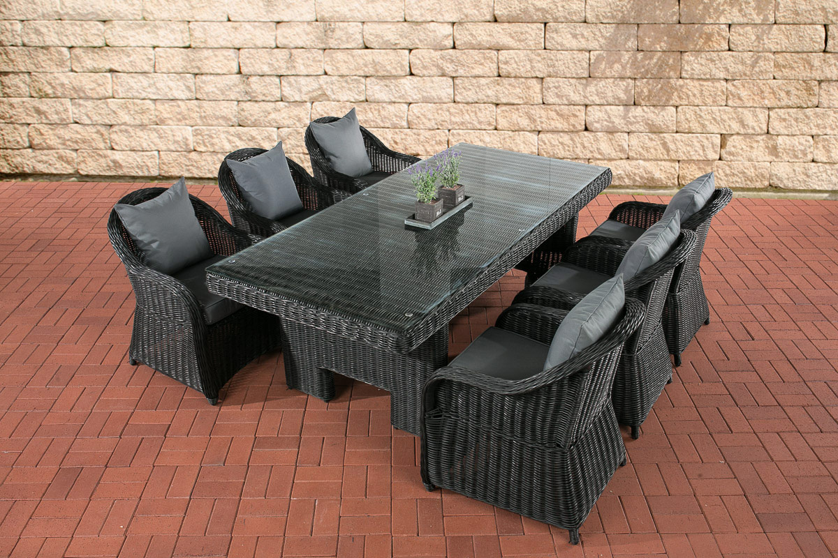poly rattan gartenm bel essgruppe candela schwarz 6 garten sessel tisch 220x100 ebay. Black Bedroom Furniture Sets. Home Design Ideas