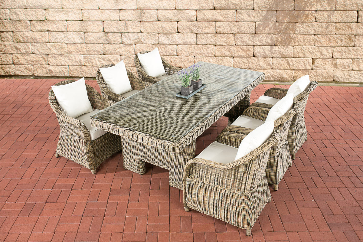 poly rattan essgruppe candela esstisch 220 x 100 cm 6 personen farbe natura ebay. Black Bedroom Furniture Sets. Home Design Ideas