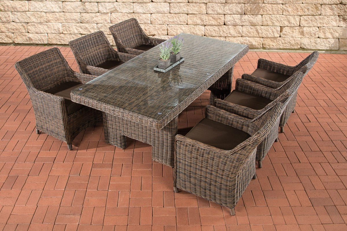 poly rattan gartenm bel essgruppe sandnes braun meliert gartengarnitur terrasse. Black Bedroom Furniture Sets. Home Design Ideas