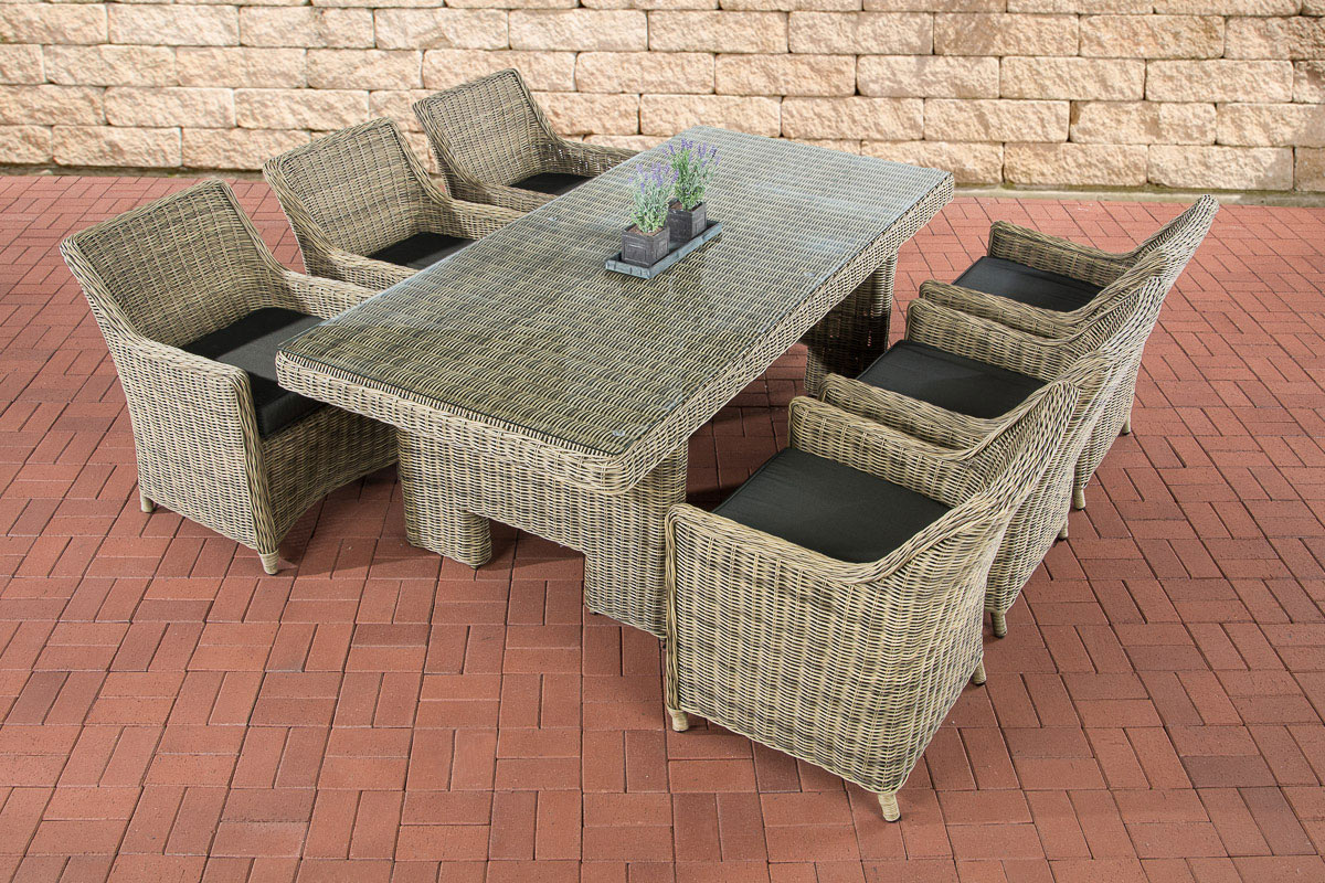 garten essgruppe sandnes 6 personen 5mm poly rattan natura esstisch 220x100 cm ebay. Black Bedroom Furniture Sets. Home Design Ideas