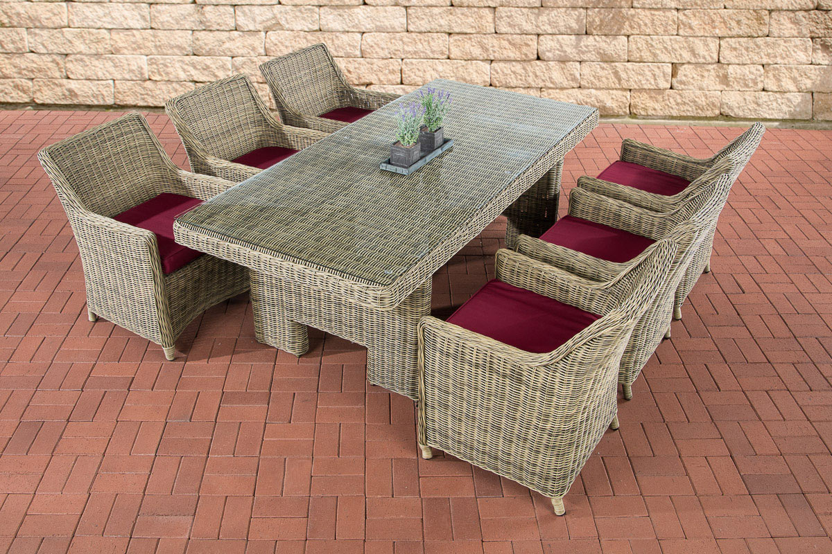garten essgruppe sandnes 6 personen 5mm poly rattan natura. Black Bedroom Furniture Sets. Home Design Ideas