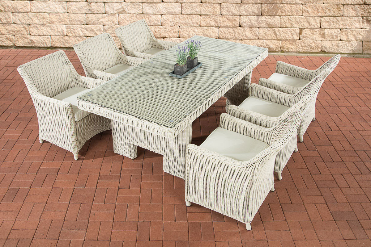 poly rattan essgruppe sitzgruppe sandnes perlwei garten terrasse 6 personen ebay. Black Bedroom Furniture Sets. Home Design Ideas