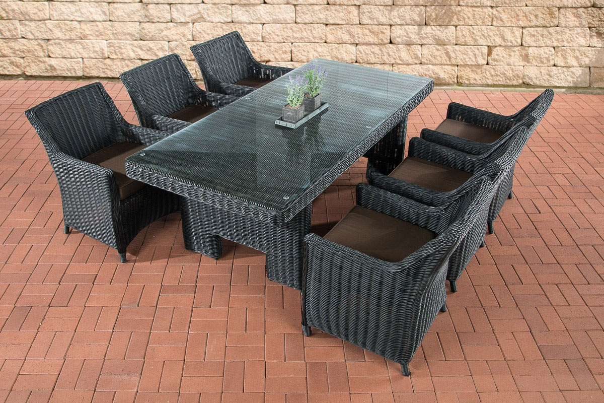 sitzgruppe sandnes schwarz essgruppe gartengarnitur polyrattan garten terrasse ebay. Black Bedroom Furniture Sets. Home Design Ideas