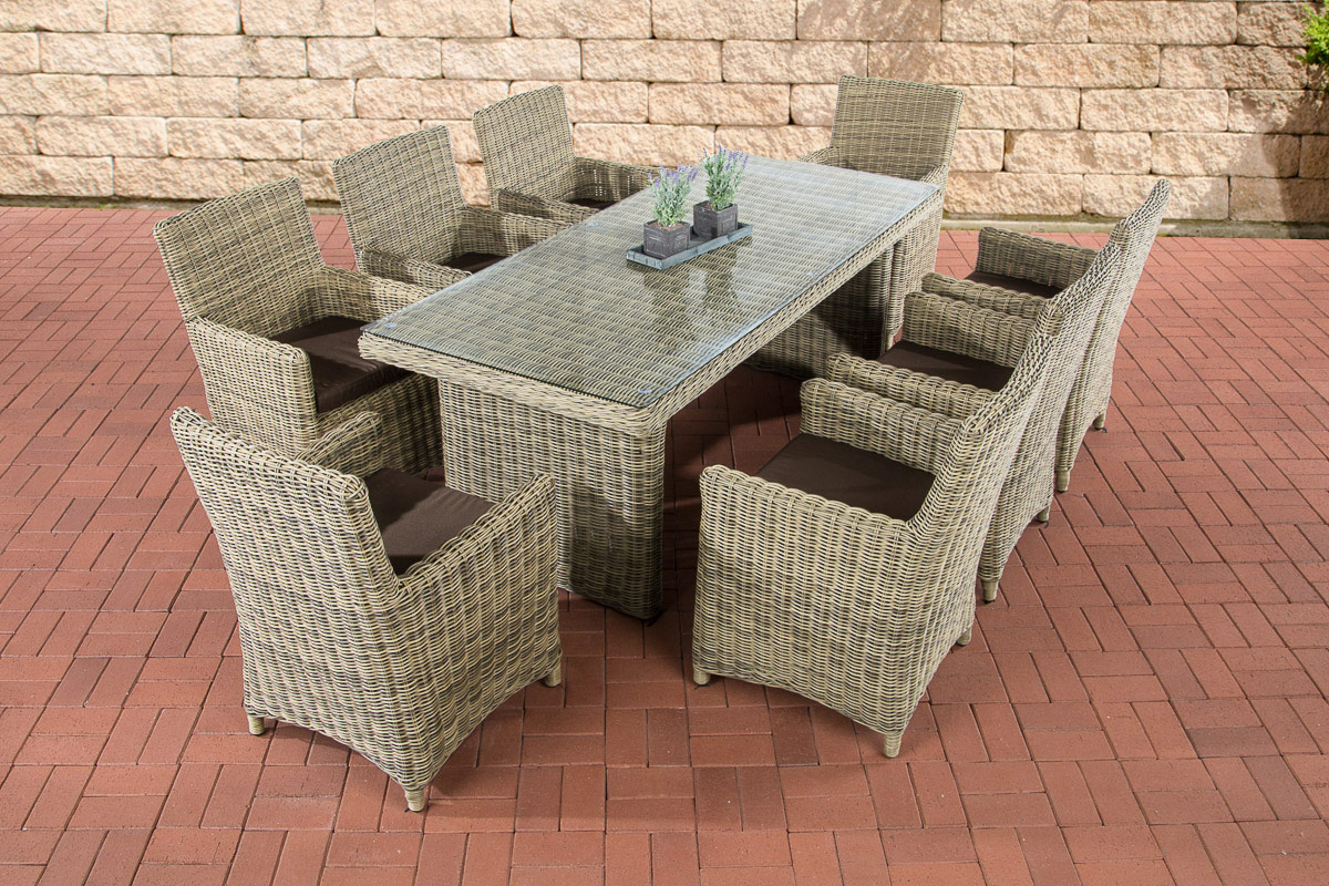 poly rattan sitzgruppe fontana xl natura essgruppe gartenm bel esstisch neu ebay. Black Bedroom Furniture Sets. Home Design Ideas