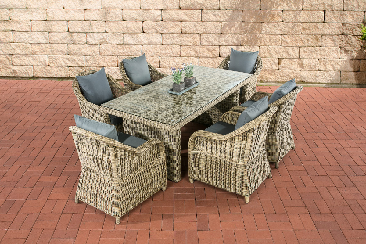 poly rattan 6 personen essgruppe lavello natura gartentisch 180 x 90 cm ebay. Black Bedroom Furniture Sets. Home Design Ideas