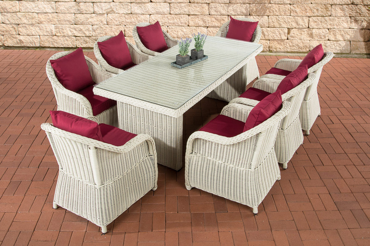 polyrattan garten sitzgruppe lavello xl perlwei essgruppe garnitur 8 personen ebay. Black Bedroom Furniture Sets. Home Design Ideas
