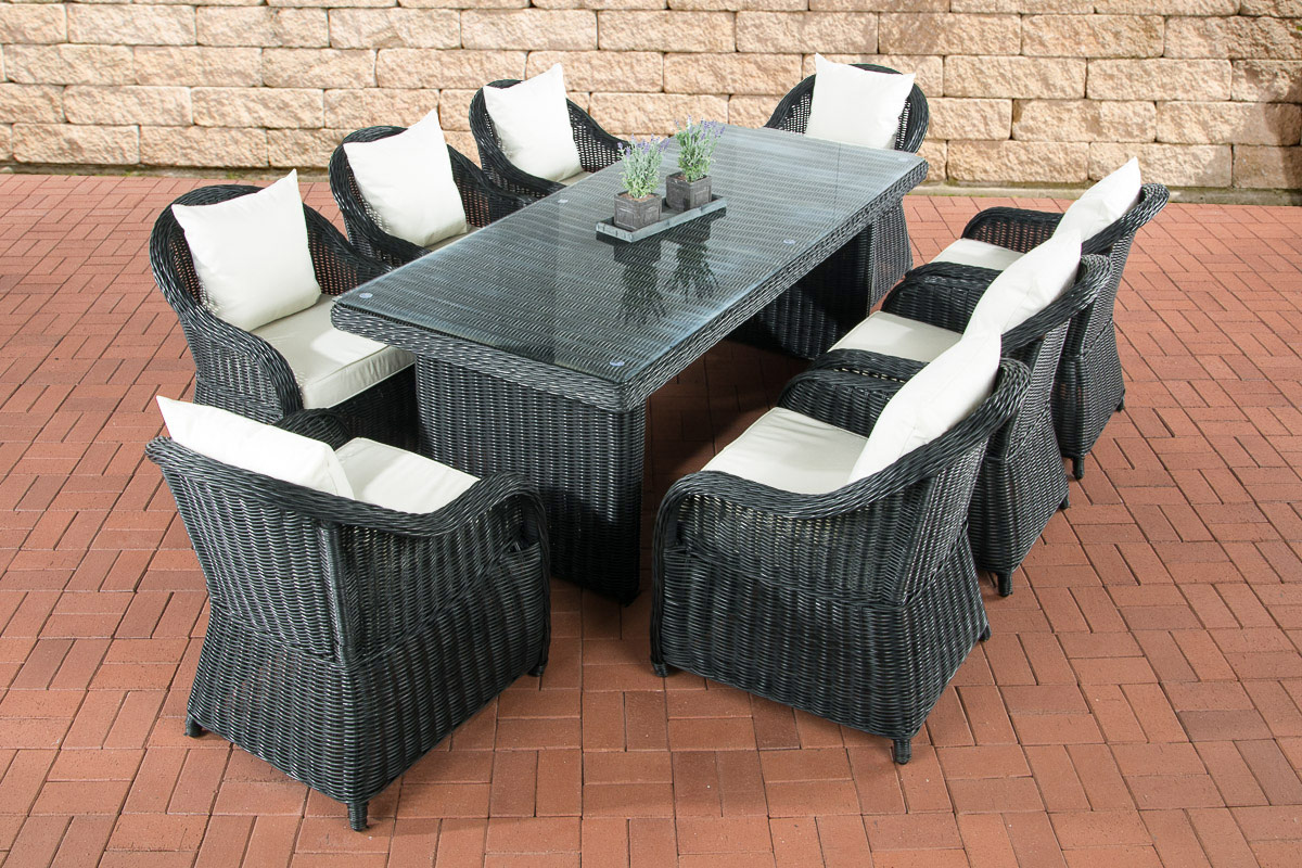 polyrattan garten sitzgruppe lavello xl schwarz essgruppe. Black Bedroom Furniture Sets. Home Design Ideas