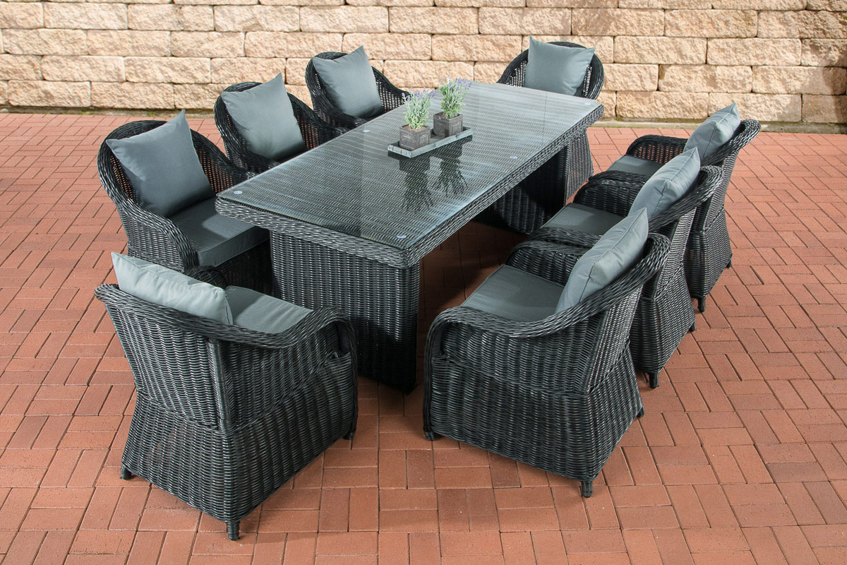 polyrattan garten sitzgruppe lavello xl schwarz essgruppe garnitur 8 personen ebay. Black Bedroom Furniture Sets. Home Design Ideas