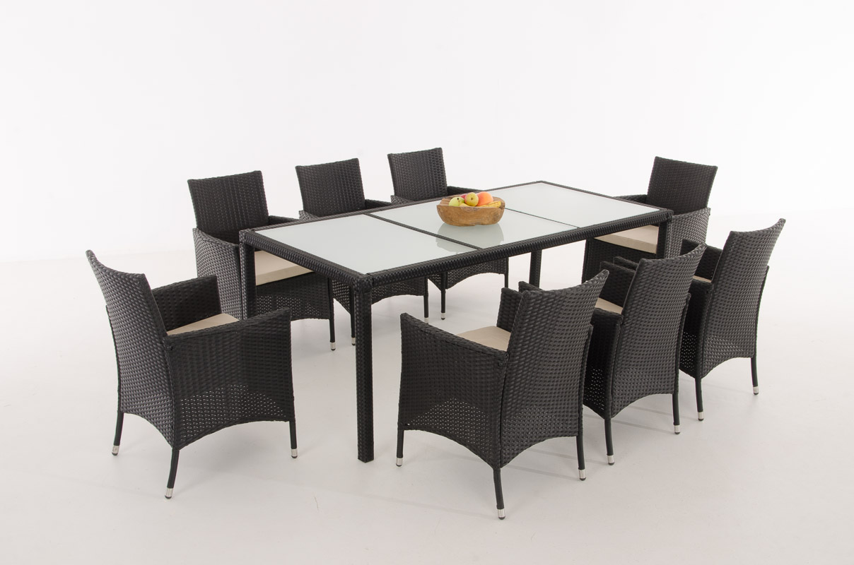 Sitzgruppe vermont big 8 st hle farbwahl essgruppe for Gartengarnitur polyrattan