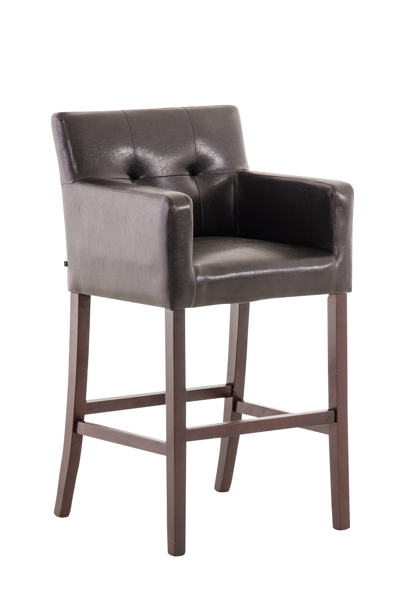 Bar Stool Maori Brown Leather Breakfast Kitchen Barstools Armchair Chair Pub New Ebay